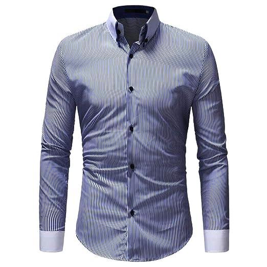 Qiusa Camisa de Polo para Hombre Camisa de Manga Larga a Rayas ...