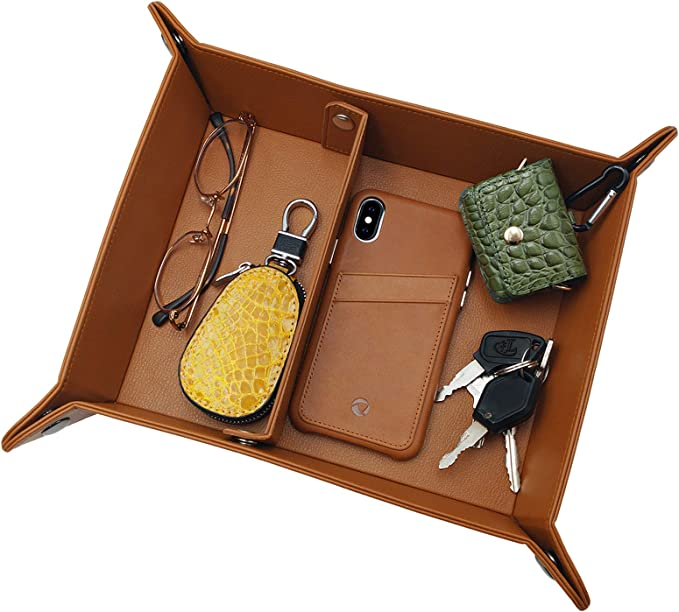 SN/_ Foldable Storage Box Faux Leather Table Game Key Wallet Coin Tray Organize