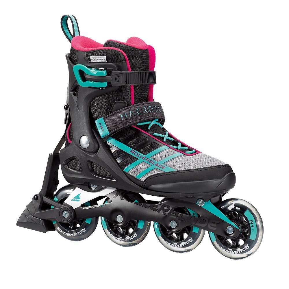 Rollerblade Macroblade 84 ABT Women's Adult Fitness Inline Skate, Emerald Green and Cherry, Performance Inline Skates