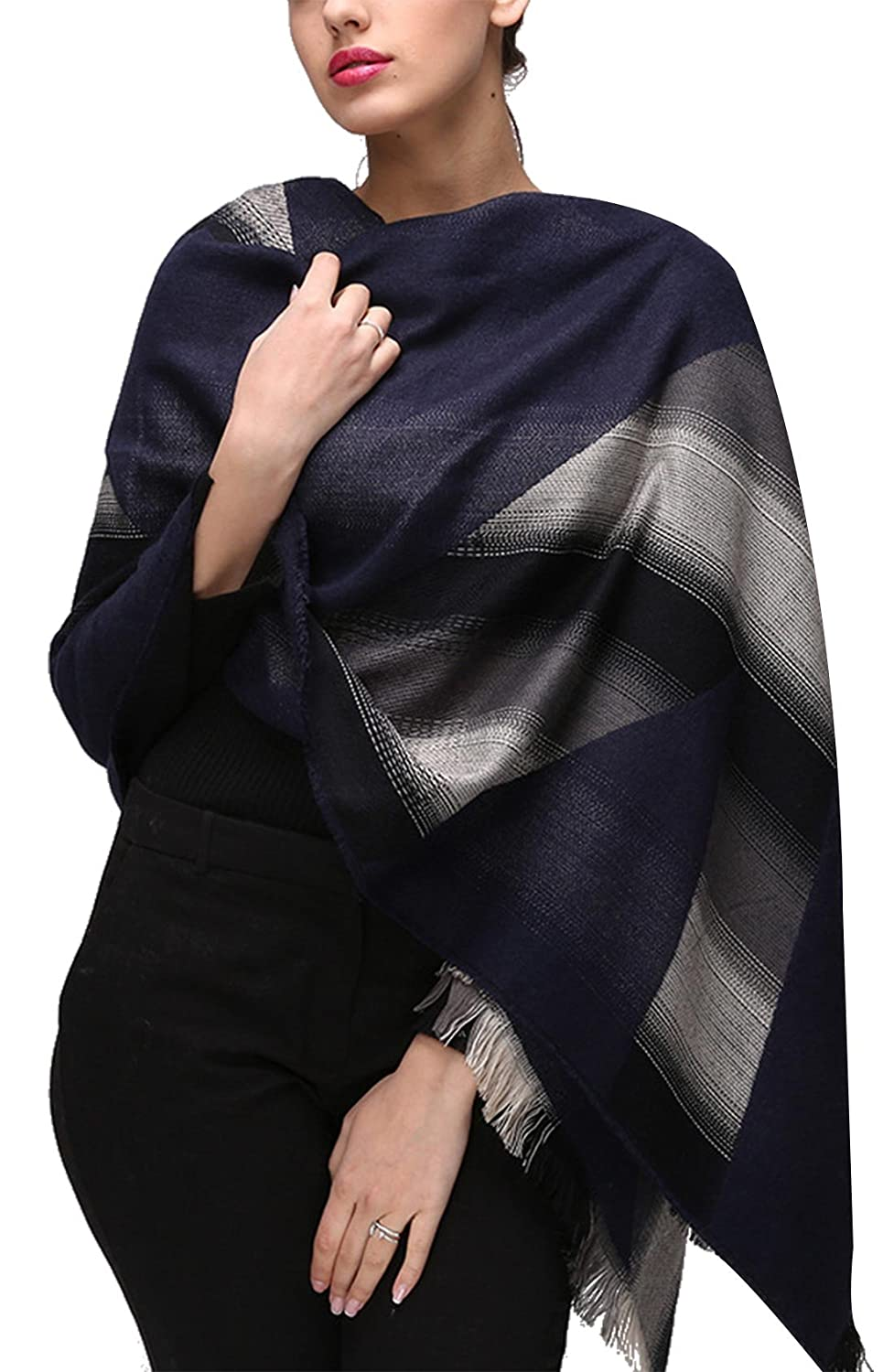 Women's Scarf Winter Fashion Gradient Color Soft Scarf Shawl - Black and White FEOYA
