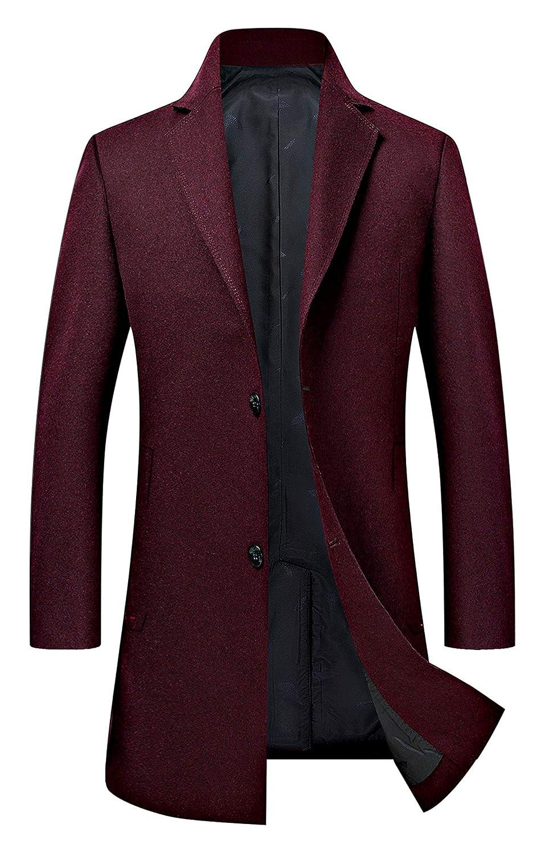 Men's Trench Coat Wool Blend Slim Fit Jacket Single Breasted Business Top Coat FSSSTF EFC000001-PA