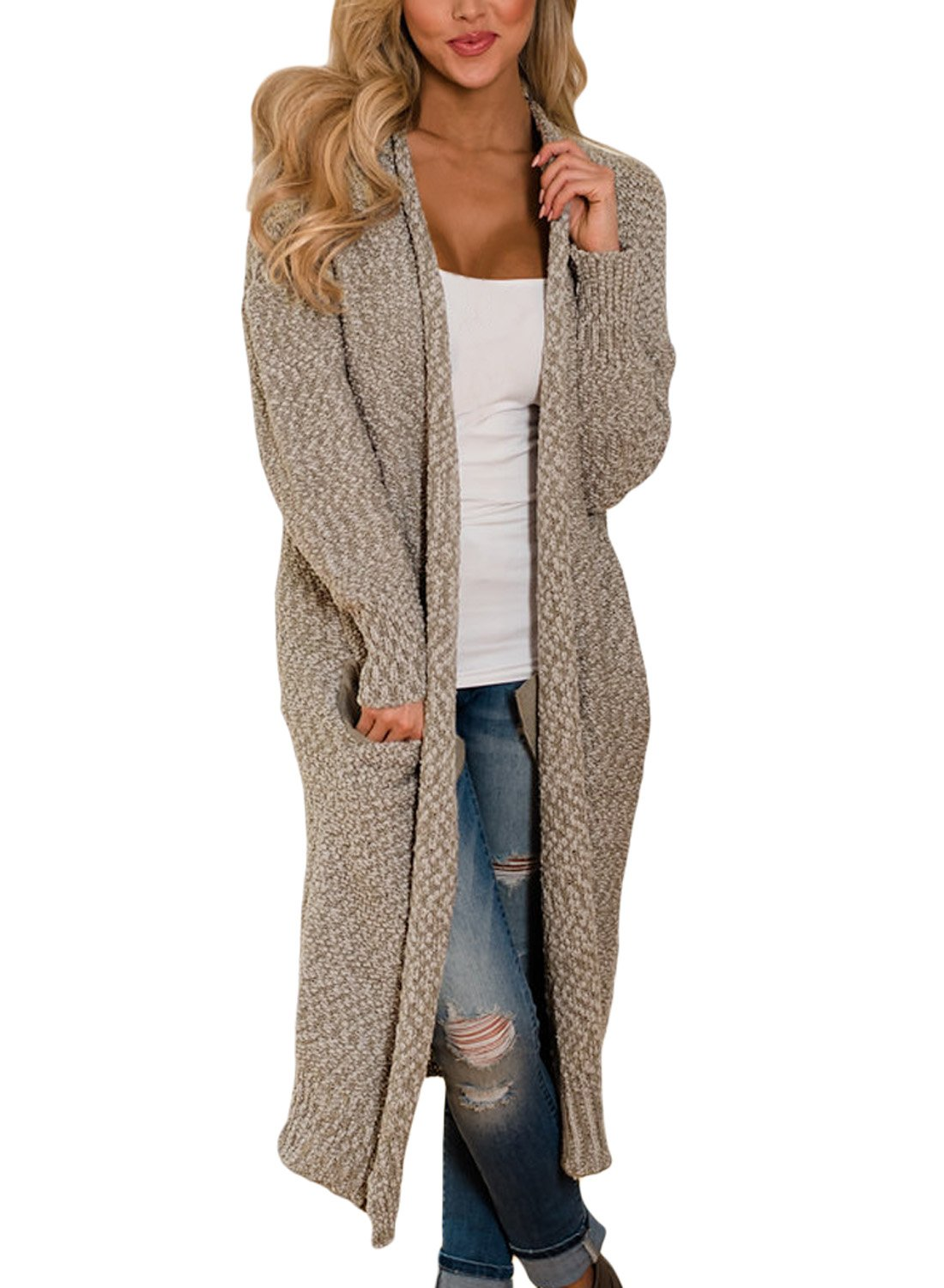 HOTAPEI Women's Autumn Winter Pockets Mitten Cable Knit Long Sleeve Loose Open Front Long Maxi Cardigan Sweaters Solid Sweater Coats Khaki Medium