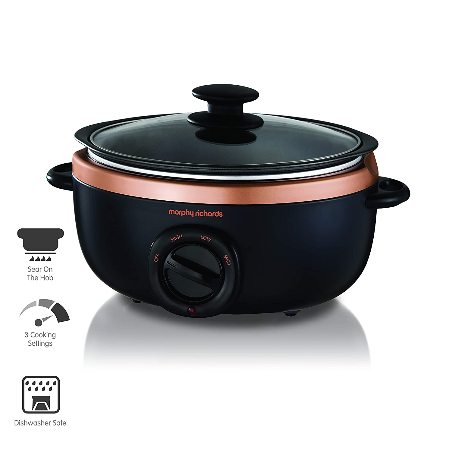 Morphy Richards Sear and Stew Slow Cooker 460016 Black and Rose Gold