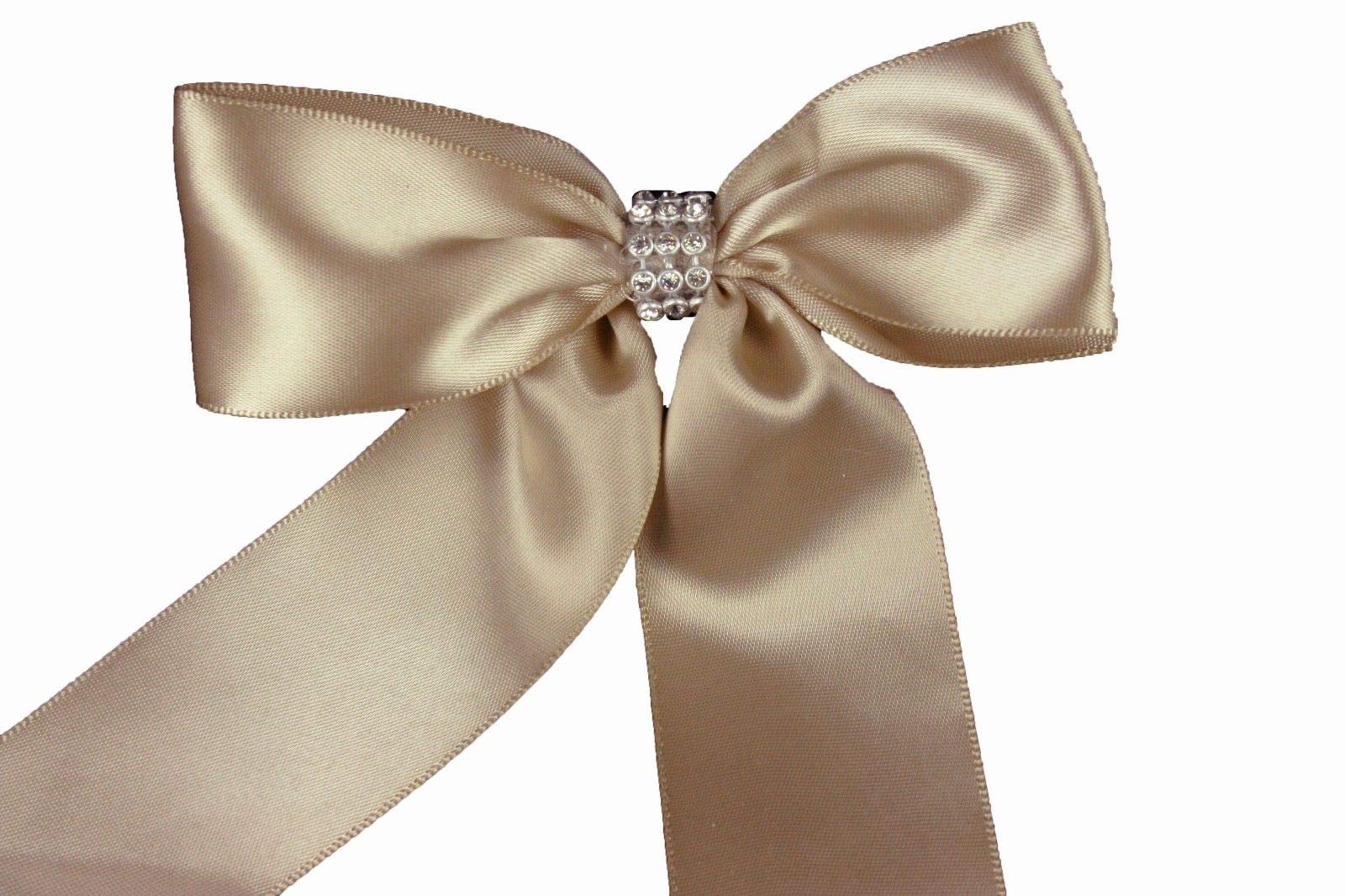 Bright Sun Toffee (Set of 10) Pre-Made 1-1/2'' Satin Bows Rhinestone Center Design with Wire Tie #DPNH