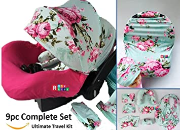 9pc Baby Girl Ultimate Set Of Infant Car Seat Cover Canopy Headrest Blanket Hat Nursing Scarf