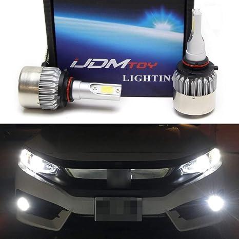 Ijdmtoy 2 C6 High Power Led Headlights 9005 9006 H10 Bulb Size 6000k Xenon White Powered By Cob Led With Fan Heatsink