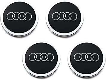 Centro de reemplazo de Audi Tapas De 60 mm Conjunto de 4 Tapas Negro S-LINE