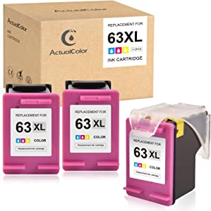 ActualColor C Remanufactured Ink Cartridge Replacement for HP 63XL 63 XL F6U63AN for OfficeJet 3830 5255 4650 5258 4655 DeskJet 1112 3630 3632 3631 Envy 4520 4510 4511 4512 (Tri-Color, 1+2 Pack)