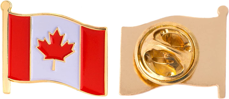 Canada Canadian Country Enamel Made of Metal Souvenir Hat Men Women Patriotic (Waving Flag Lapel Pin)