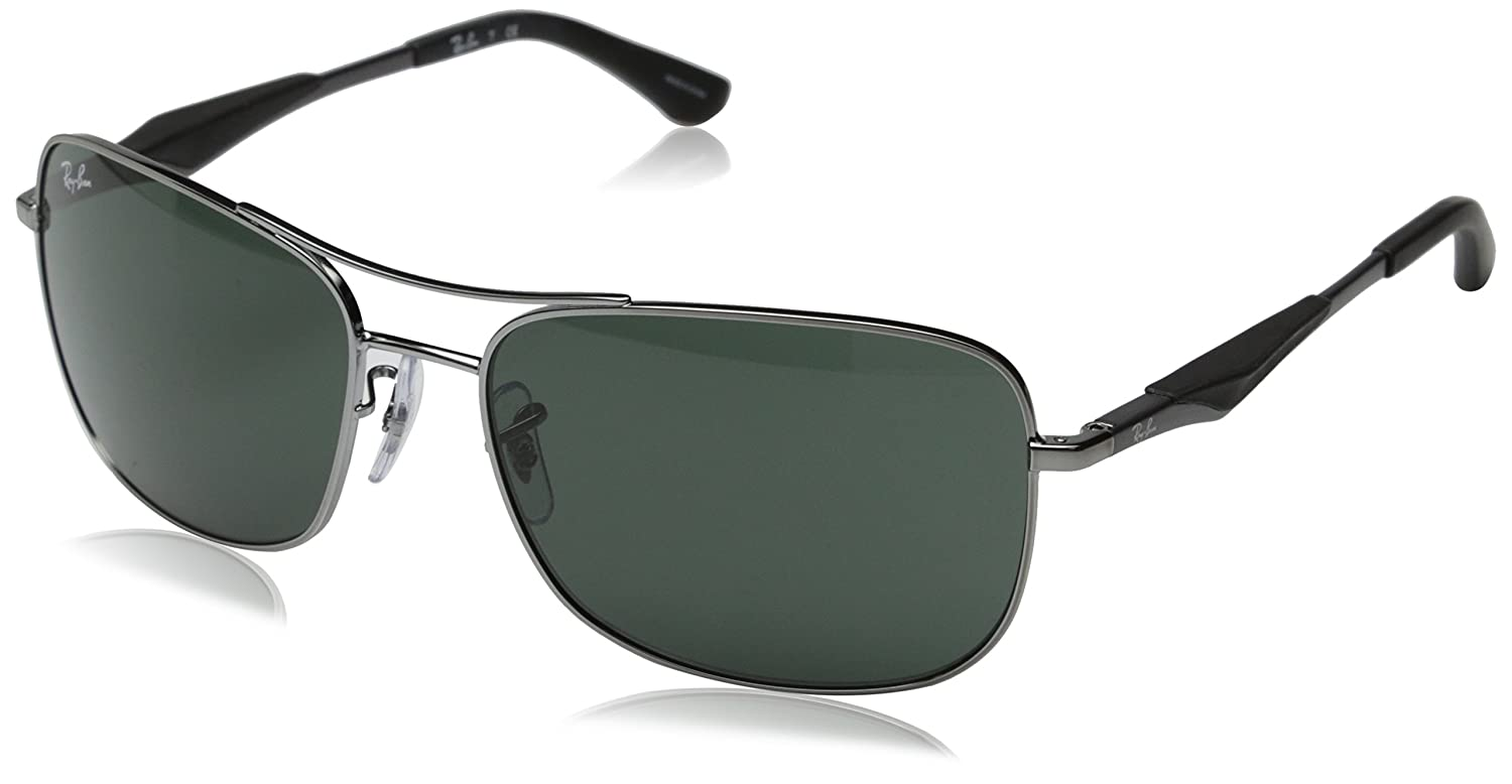 Ray-Ban Mens RB3515 Square Metal Sunglasses