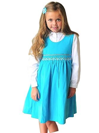 2ab417f78 Amazon.com  Hand Smocked Girls Fall Winter Corduroy Dress Jumper ...