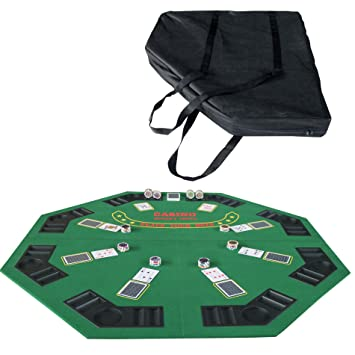48u0026quot; Folding Blackjack Texas Holdem Octagon Poker Table Top Green With  Carrying Bag