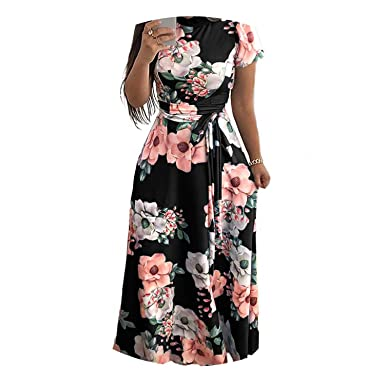 Women Long Maxi Dress Floral Print Boho YLE Beach Dress ...