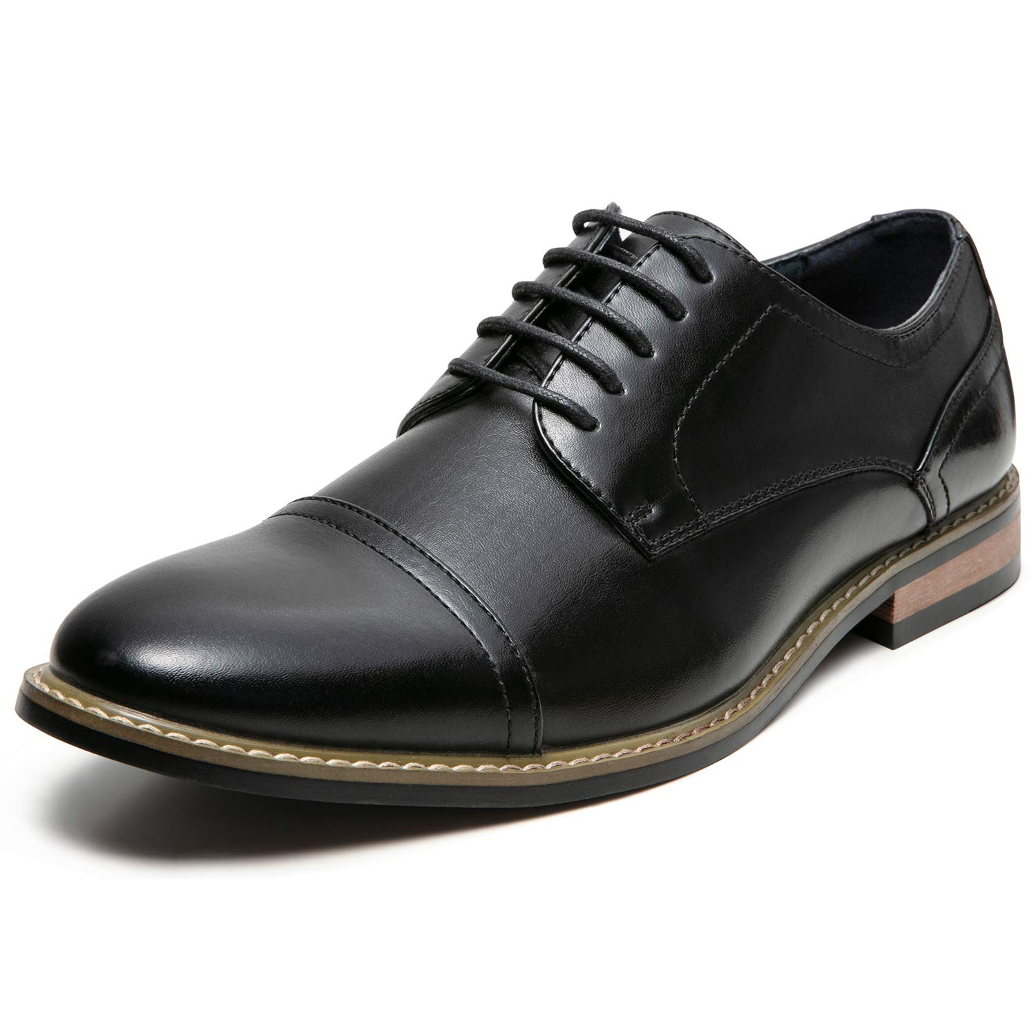 Men's Oxford Classic Cap Toe Dress Shoes Modern Lace up Leather Lined Formal Shoes for Men (2.5 M US, Black2)