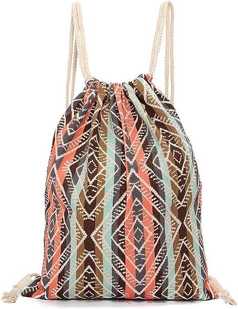bolsas de cuerdas mujer mochilas saco tela lona patrones geométricos bolsas deporte ocio viaje: Amazon.es: Deportes y aire libre