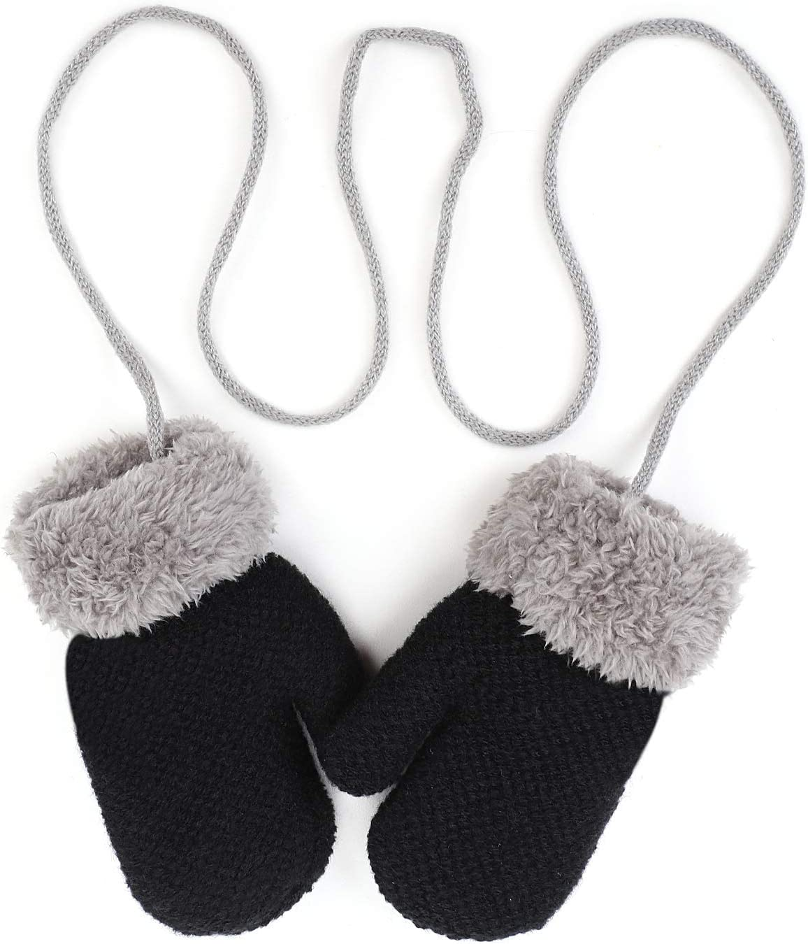Kids Toddlers Mittens Gloves with String Knitted Mittens Gloves for kids Hang Neck Mittens Girl Boys Full Finger Plush Gloves Winter Warm Wool Fleece Gloves Thick Hand Wear Cover for Children Age 1-5Y