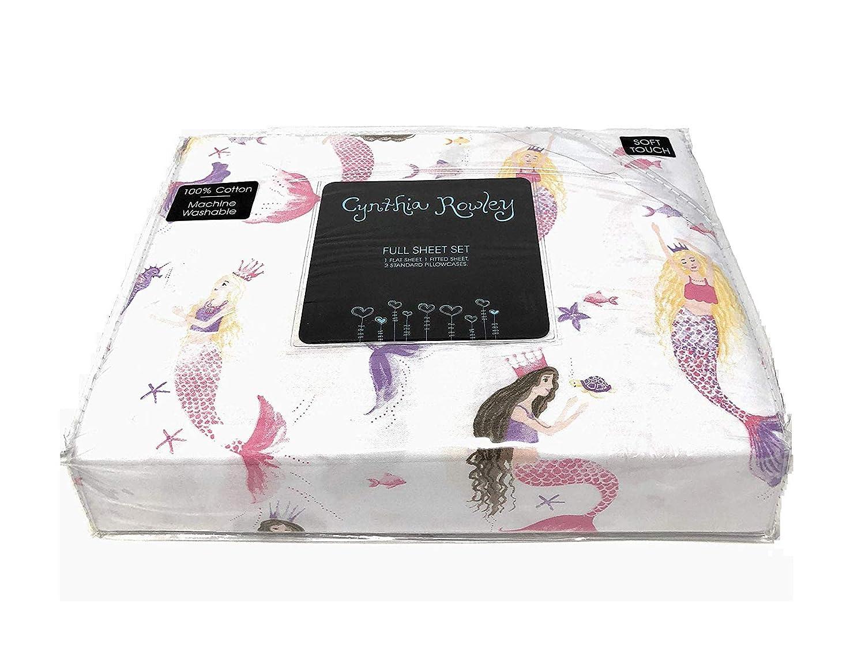 100/% Cotton 4-PC Set Cynthia Rowley Mermaids Under the Sea Creatures FULL Sheet Set