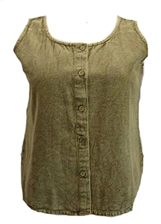 Sacred Threads Acid Wash Brown Button Front Tank Top Large at Amazon ...