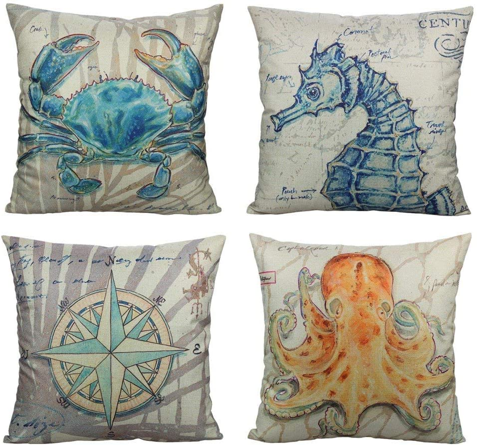 Ocean Nautical Outdoor Throw Pillow Covers Cases Beach Coastal Cushion Sea Decor 18x18 Set Of 4 Decorative Marine Animals Square For Sofa Couch Crab Seahorse Compass Octopus Amazon Ca Home Kitchen