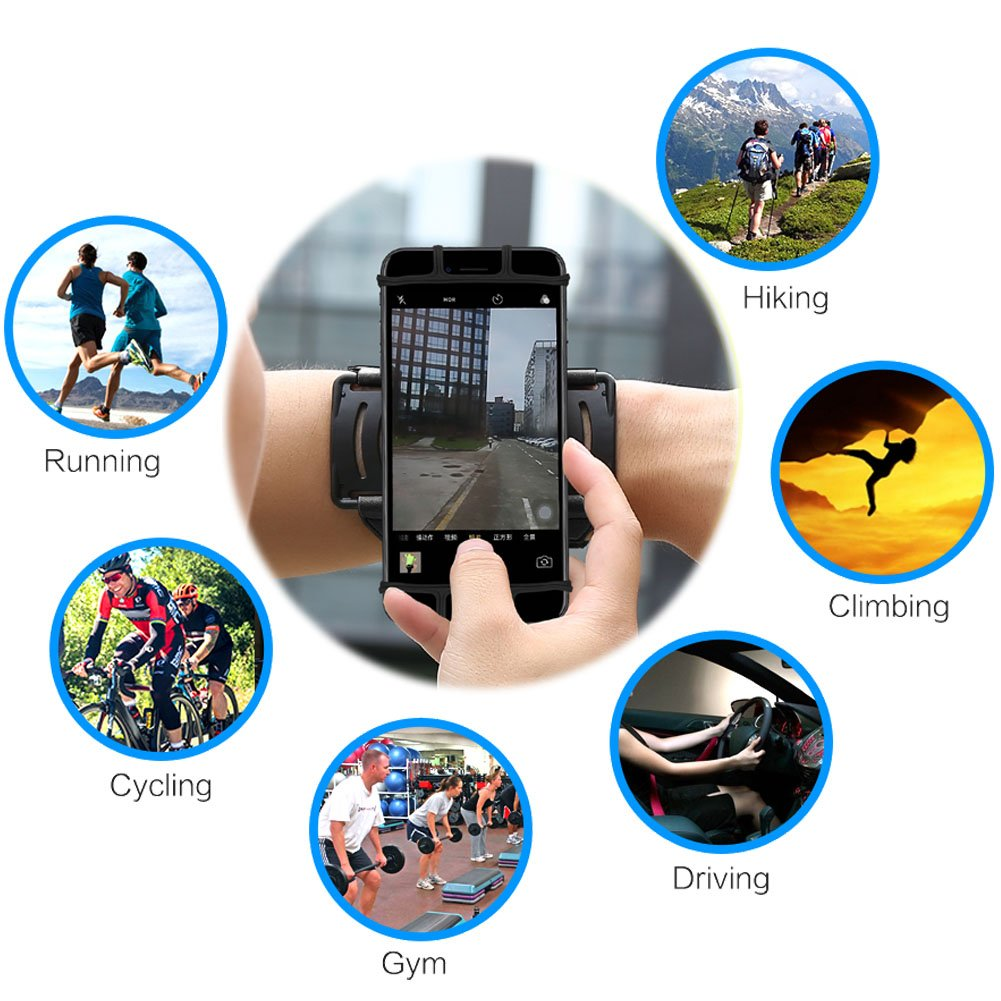 VUP Cell Phone Holder Wristband for iPhone X 7/7 Plus 8/8Plus 6/6S Plus, Galaxy S8/S9 S7 Edge Note 8, Nexus 6P 180° Rotatable Universal for 4.0''-5.8'' Mobile Phone Hiking Walking Running Armband by VUP (Image #3)