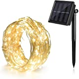Outdoor String Lights(Solar Powered 39 ft. Waterproof 8 Modes), Ankway Bendable Copper Wire High Efficiency 100 leds Bright Led String Lights for Fence, Patio, Garden, Windows and Porch (Warm White)