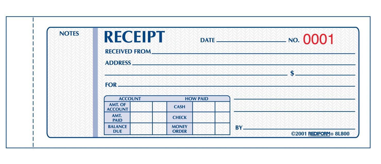 Amazon REDIFORM Money Receipts Carbonless 3 Parts 275 x – Money Receipts