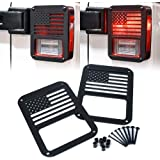 """Xprite Aluminum Alloy """"American US Flag"""" Tail Light Covers Guards Protectors for 2007-2018 Jeep Wrangler JK Unlimited Accesso"""