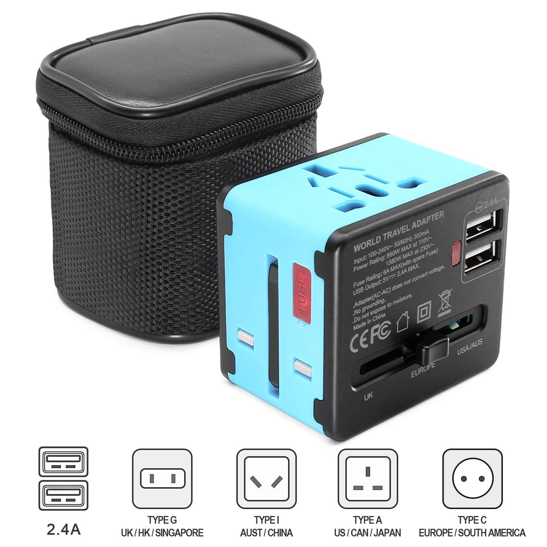 Cheersbang Travel Adapter Adattatore Universale da Viaggio con Doppia Presa Caricabatteria USB 2.4A e Presa a Muro Internazionale Per US/EU / UK/AU (Blu)