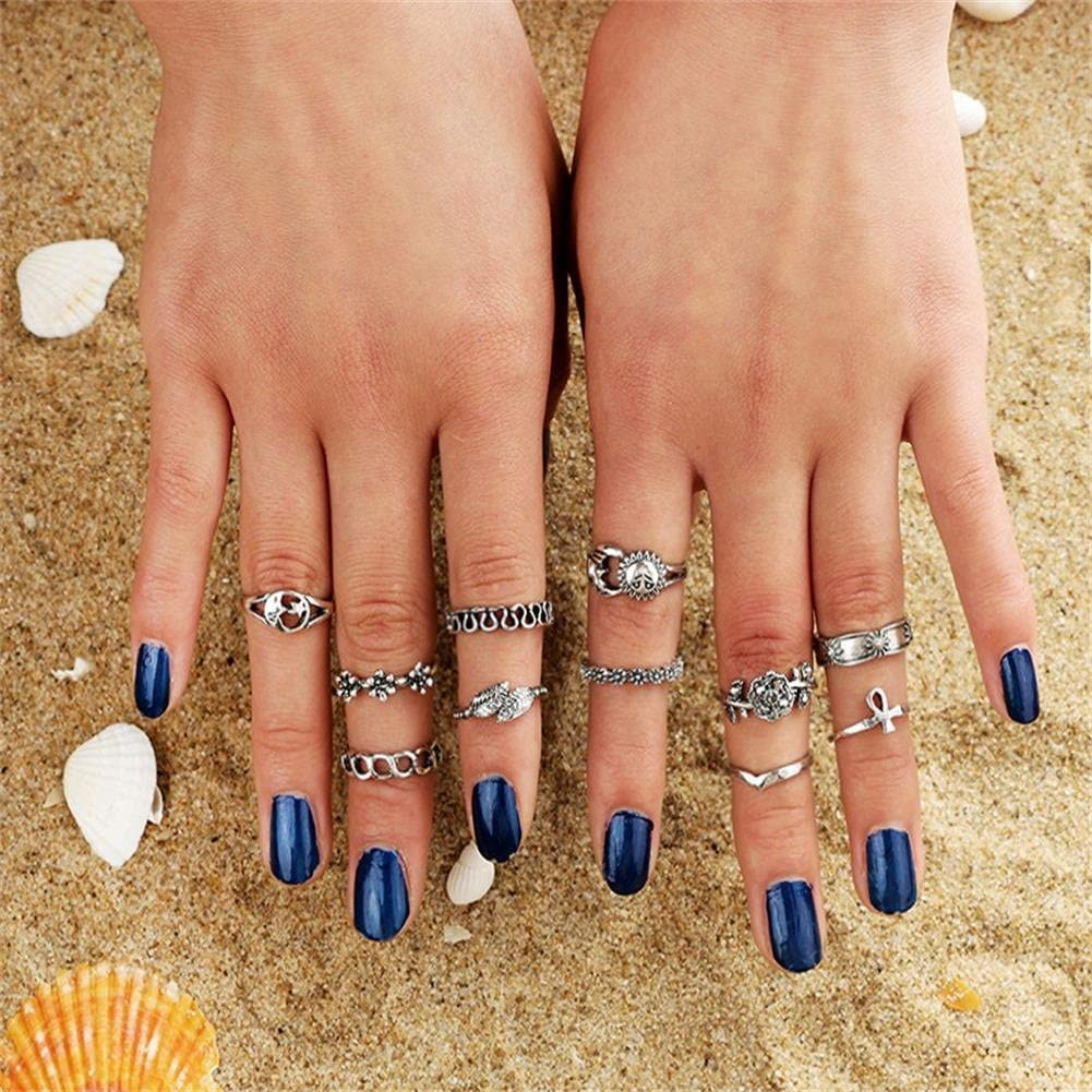 Silver MTRSUE 11PCS Vintage Knuckle Ring Set Sun Moon Elephant Fatima Bohemian Stack Rings Above Knuckle Rings