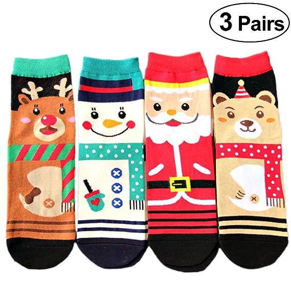 FENICAL Calcetines de Navidad de 3 Pares Calcetines de Medias Medias de Navidad Calcetines de Navidad