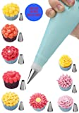 24 Pieces Cake Piping Icing Nozzles Tips Kit Set with Reusable Silicone Piping Bags, 2 Coupler , 5 Disposable bags and Storage Case for Cakes Cupcakes Decorating Cookies Pastry Making Tools. EBOOK guide included