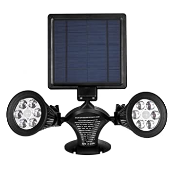 Solar Lights Outdoor Motion Sensor, IThird 12 LED 600LM Solar Powered  Security Lights Double Spotlights