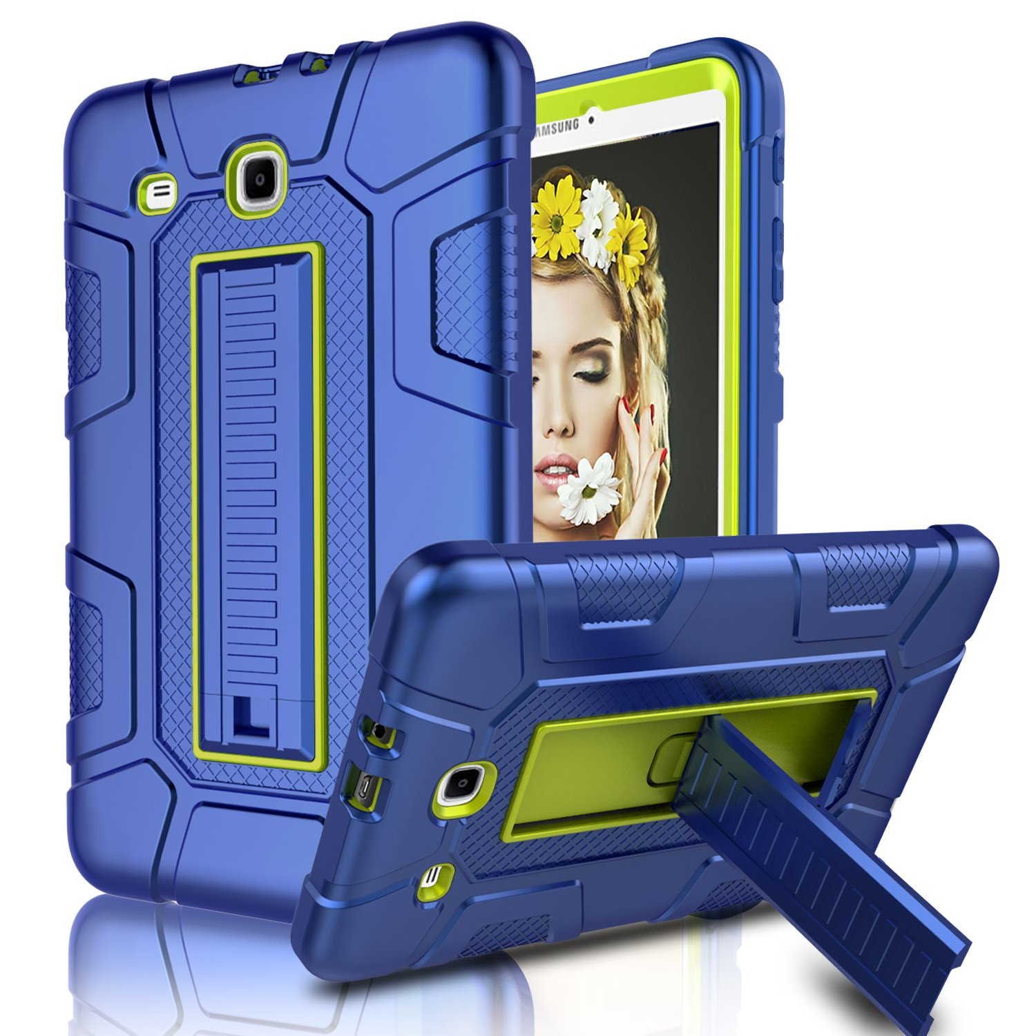 Galaxy Tab E 9.6 Case, Elegant Choise Case with Kickstand Three Layer Heavy Duty Shockproof Defender Rugged Protective Case Cover for Samsung Galaxy Tab E 9.6 inch/SM-T560/T561/T567 (Yellow/Blue) EC™