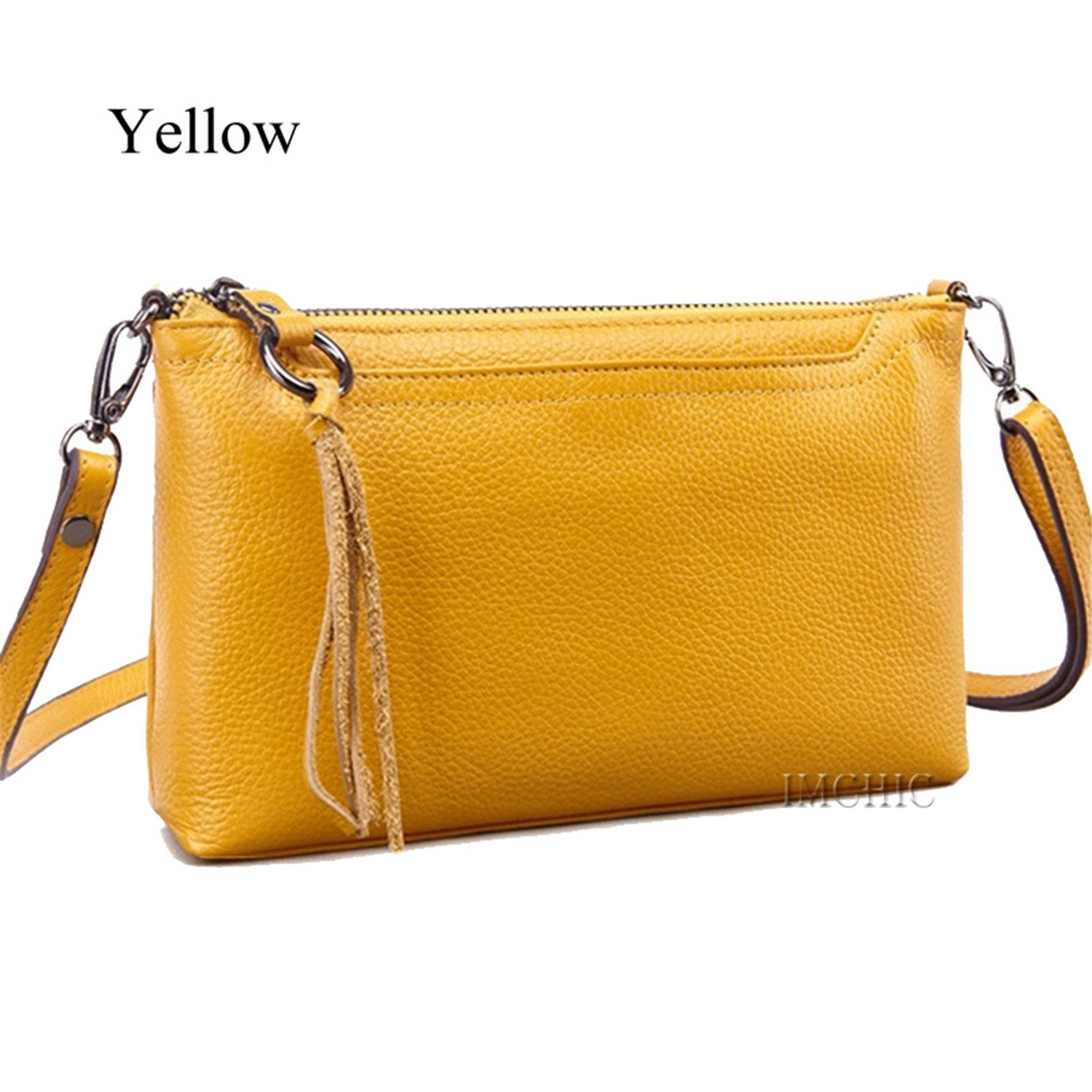 Yellow Gomez Leather Ladies Handbag Vintage Tassel Women's Crossbody Bags Female Clutch Women Shoulder Bag