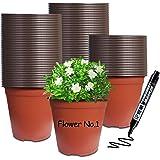 HaiSpring100 Pcs 6 Inch Nursery Pots , Plastic Seedling Pots Suitable for Yard & Park, Flower Plant & Garden