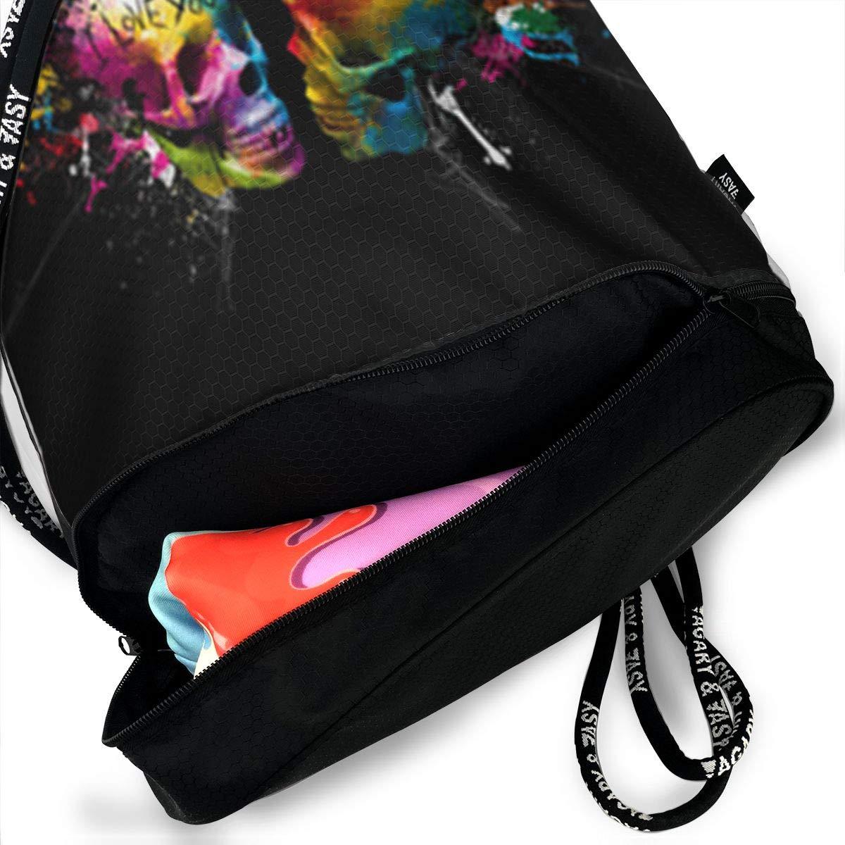 HUOPR5Q Black-Colorful-Skull Drawstring Backpack Sport Gym Sack Shoulder Bulk Bag Dance Bag for School Travel