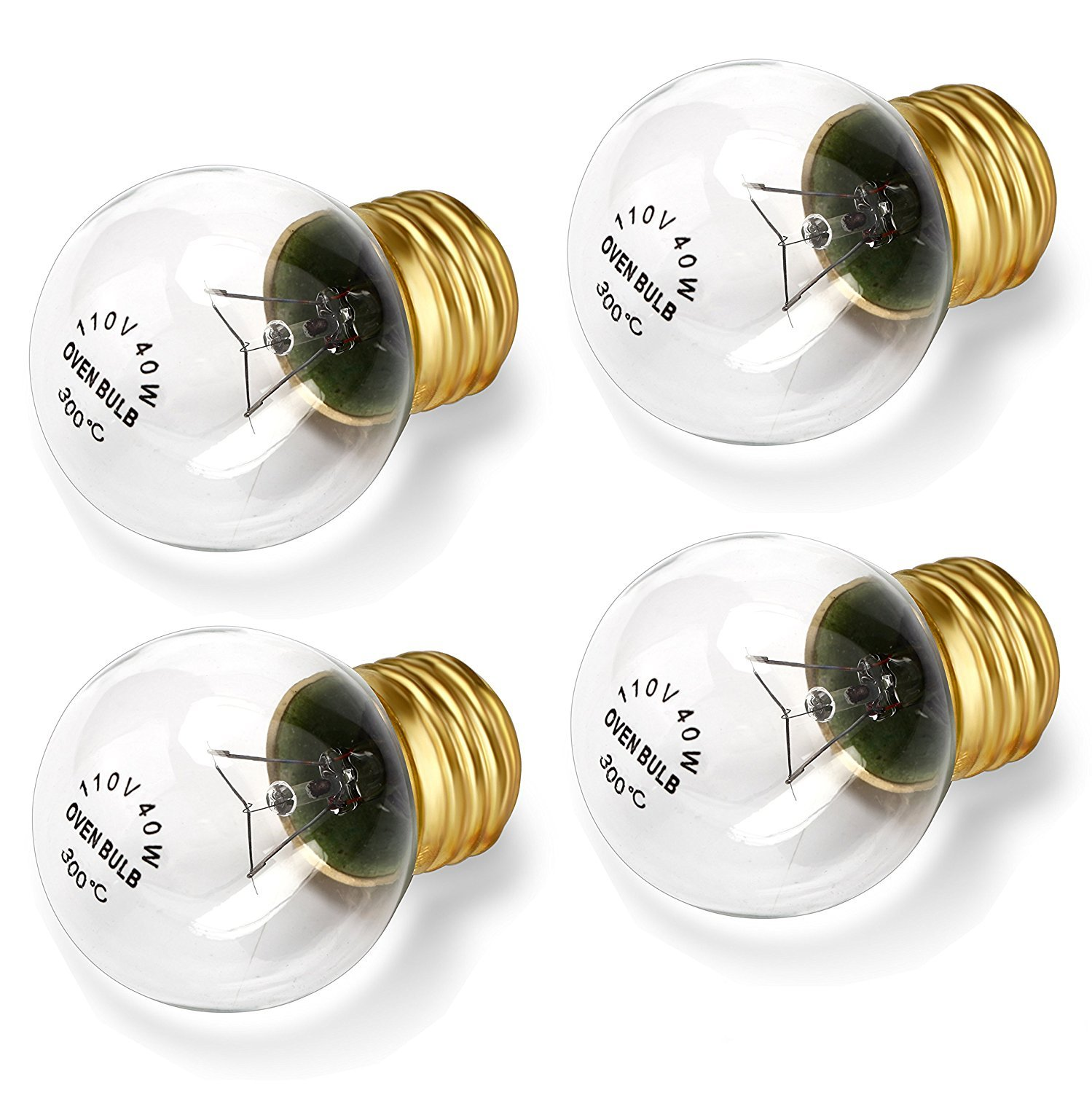 SooFoo Appliance Oven Refrigerator Bulbs, Appliance light bulb, High Temp - E27/E26 Medium Brass Base - 40 Watt/110v - 120v, Clear Glass Oven Bulb, 400Lumens(4-pack)