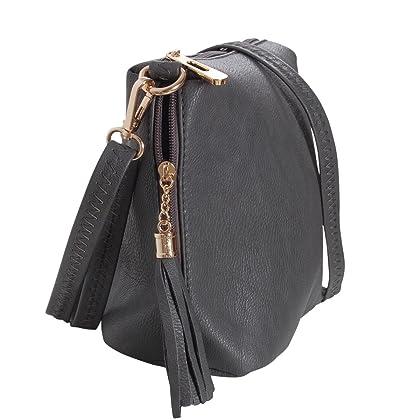 ... Humble Chic Mini Tassel Cross Body Bag - Small Vegan Leather Zipper  Crossbody Handbag Shoulder Purse ... 4de0ef9e5b098
