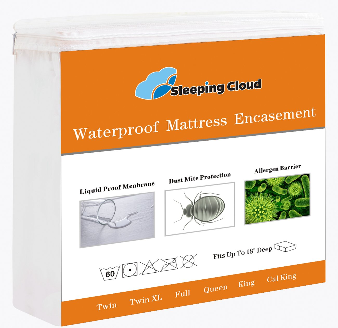 Premium Zippered Mattress Encasement Waterproof Hypoallergenic Breathable Mattress Protector Cover, Bedbugs / Dust Mites / Fluids Proof - 15-Year Warranty, Vinyl Free - California King Size / White