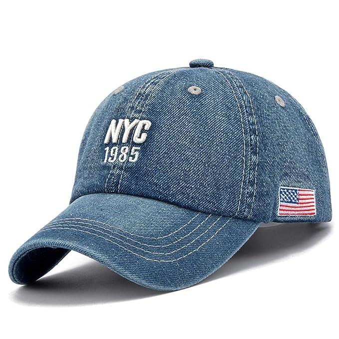 Chad Hope Denim Baseball Cap Men Women Embroidery Letter Jeans Snapback Hat  Casquette Summer Sports USA Hip Hop Cap at Amazon Men s Clothing store  3d317177d04
