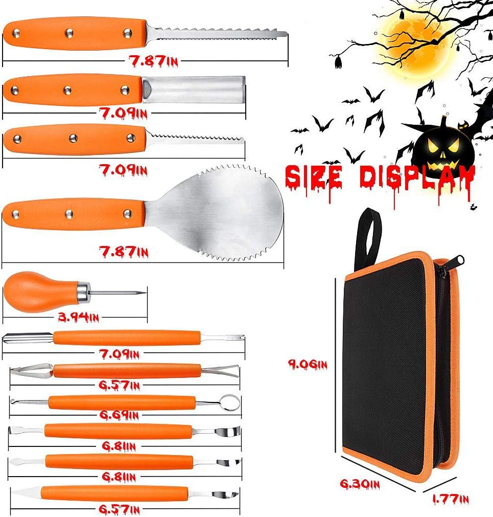 OWUDE Professionelles K/ürbis-Carving-Set 11-teiliges Hochleistungs-Carving-Werkzeug aus Edelstahl f/ür Halloween mit Tragetasche und 10-teiligen Carving-Schablonen-Orange