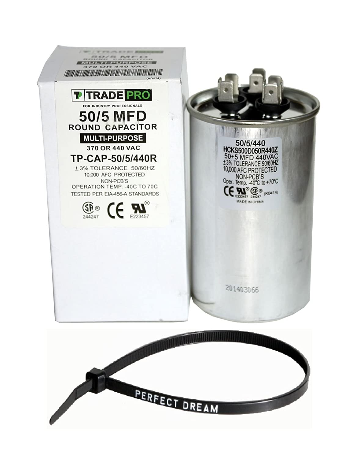 TradePro 50+5 uf MFD 370 or 440 Volt Dual Run Round Capacitor Bundle  TP-CAP-50/5/440R Condenser Straight Cool/Heat Pump Air Conditioner and Zip  Tie: ...