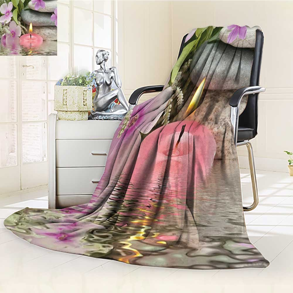 YOYI-HOME Throw Duplex Printed Blanket Spa Heaven on Earth Peaceful Theme Violets Candle on a Water and Stones Purple Grey and Green Warm Microfiber All Season Blanket for Bed or Couch /W79 x H59