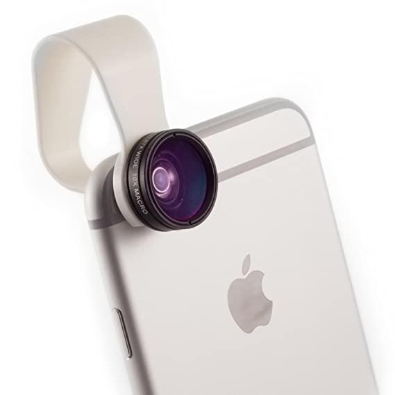 iPhone Camera Lens 2-in-1 by Pocket Lens, Macro and Wideangle Lens, Fits  All iPhones, iPads, Samsung, Google Phones, Alternative to Olloclip, Comes