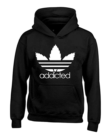 b5c347681273 Addicted White Leaf Unisex Hoodie Weed Related Sweatshirts at Amazon ...