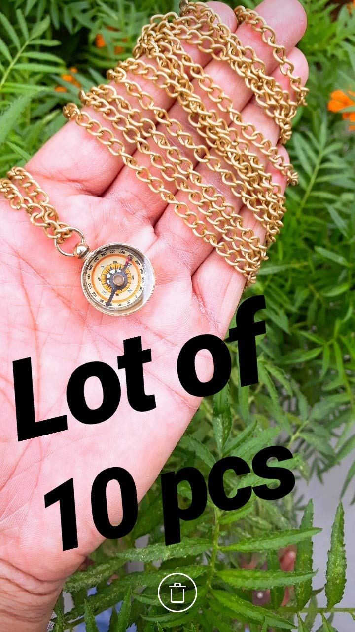 S.I Enterprises Brass Compass lot of 10 Brass Compass Brass Mini Working Compass Necklace Nautical Gift Solid Brass with Brass Chain
