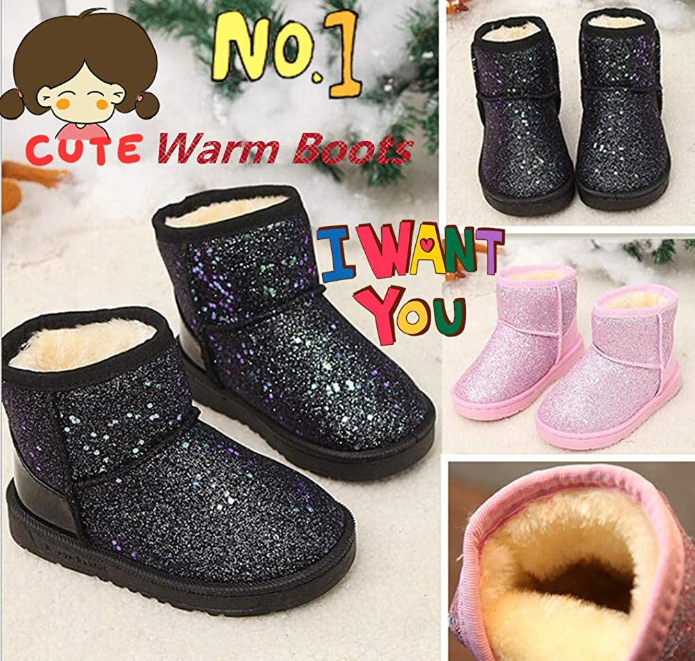Elcssuy Girls Boots Warm Sequin Comfy Cute Waterpoof Outdoor Glitter Snow Boots Bootie Slippers Toddler//Little Kid