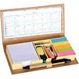 Crownlit Eco-Friendly Stationary Set with Paper Clips, Stapler, Sticky Notes, Calendar, Pen