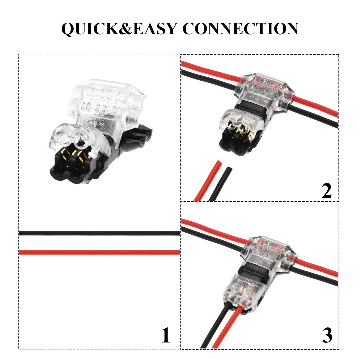 Tatuo 15 Pieces of 2 Pin 2 Way Wire Connectors Low Voltage Universal Compact Wire Connectors without Wire-Stripping for 18-22 AWG Cable, T Tape by Tatuo (Image #5)