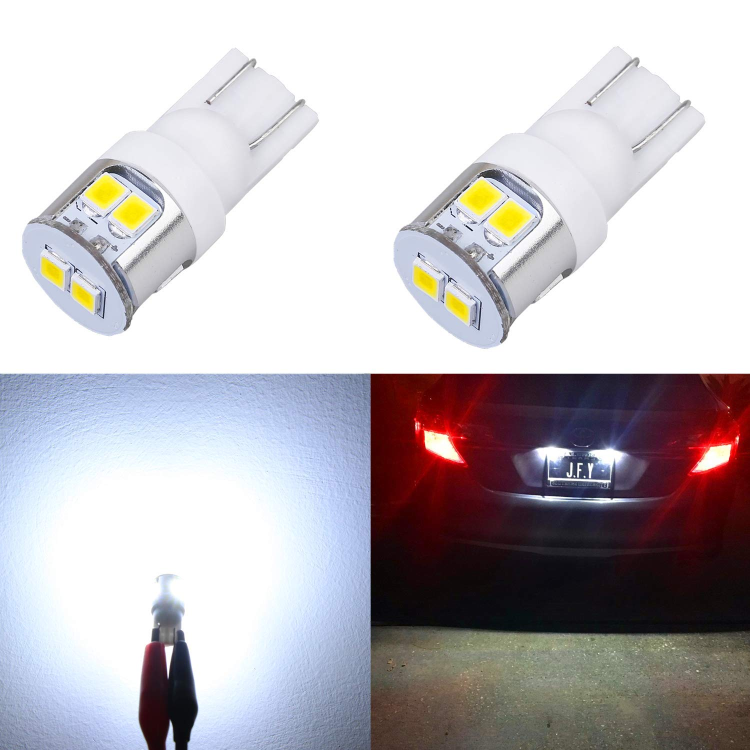 Alla Lighting 194 168 LED Bulbs Newest T10 Wedge Super Bright 2835 8-SMD LED 194 168 Bulbs 12V LED 194 Bulb 2825 W5W 175 168 License Plate, Interior Map Dome Trunk Lights, 6000K Xenon White (Set of 2)
